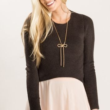 Felicity Dark Olive Cropped Sweater