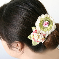 French Barrette with Pink and Garden Green Blossoms