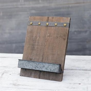 Rustic Wooden with Tin Tray Tablet Holder