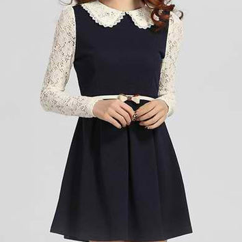 Blue Lace Long Sleeve Mini Dress