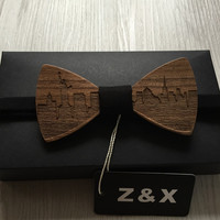 Formal Commercial Wooden Bow Tie Male Solid Color Marriage Bow Ties For Men Butterfly Cravat Wood Bow Tie