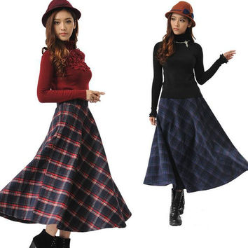2016 Autumn and winter retro Plaid Long Skirts Women Fashion Pleated Skirt