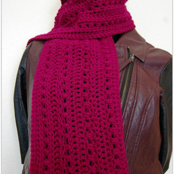 Women Scarf - Berry Puff Stitch Scarf - Handmade Crochet Scarf - Gift ideas for her - Fashion Winter Accessories