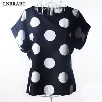 Fashion Hot Sale Summer Western Style Chiffon Women Girls O-Neck Loose T-Shirt Print Short Sleeve Breathable Large Size 19Styles