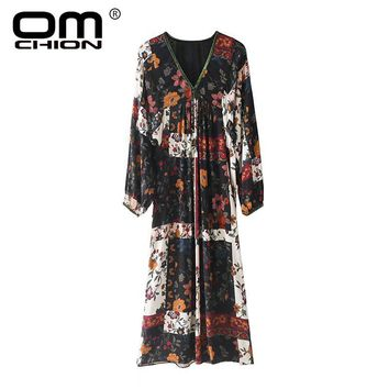 New Spring Autumn Dress Loose Floral Printed V Neck Women Dress Casual Patchwork Lantern Sleeve Dresses