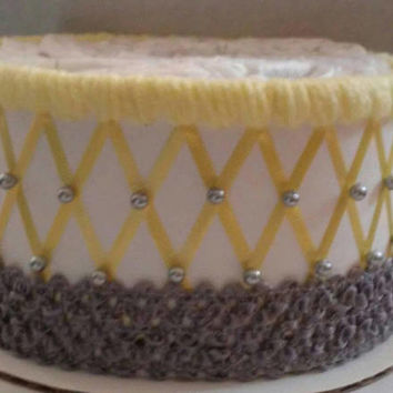 1 Tier Yellow and Grey Elephant Themed Baby Shower Decor , Diaper Cake Table Centerpiece , Creative Neutral Baby Gift , Elegant Beaded Cake