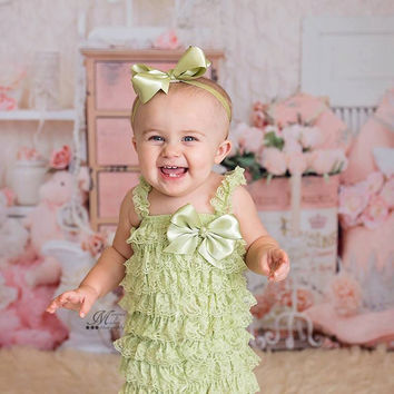 Green Romper, Baby Girl Romper, Girls Rompers, Baby Romper, Ruffle Romper,Toddler Lace Rompers, Romper