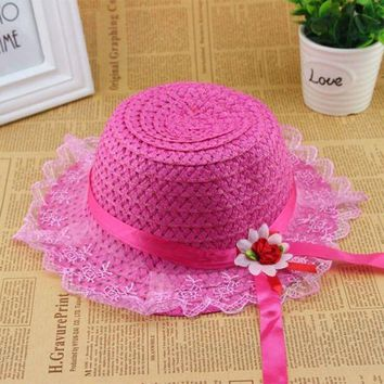 LMF78W Summer Kids Hat Child Girls Lace Brim Beach Straw Party Travelling Sun Cap