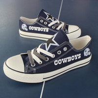 2016 Dallas Cowboys Sneakers Canvas Tennis Shoes 2 Colors Blue or Black