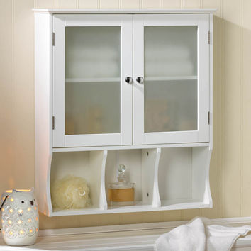Kitchen Cabinets, Bathroom Pantry Storage Cabinet With Glass Door - Wood (white)