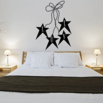 Love Primitive Stars and Twine Vinyl Wall Words Decal Sticker Graphic