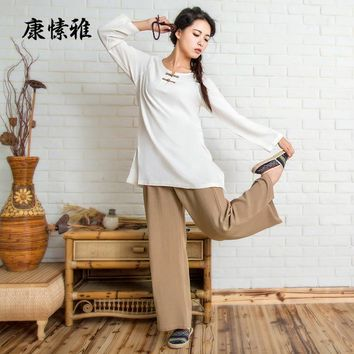 2017 Linen Yoga Shirt Pants Zen Meditation Clothing Woman Sportswear Set Large Size Gym Yoga Suit Shirt Pants Tracksuit Yoga Set
