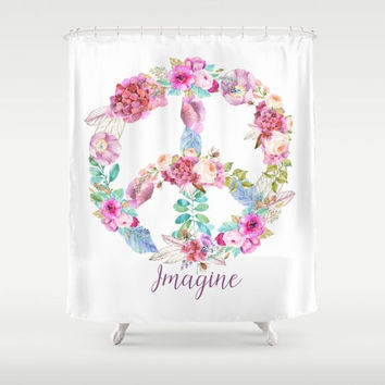 "Peace sign Shower Curtain - ""Imagine Peace"" Floral on white - Fabric - beautiful bathroom ideas,  spring remodel, curtains, flowers, unique"