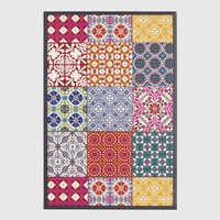 Multicolor Patchwork Print Vinyl Area Rug