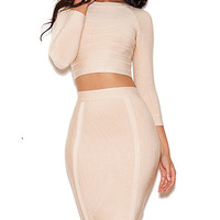 High Neck Long Sleeved Crop Top Dress