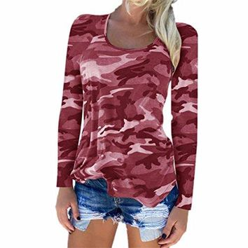 TOOPOOT Womens Autumn Camouflage T-Shirt, Long Sleeve Casual Loose Tops