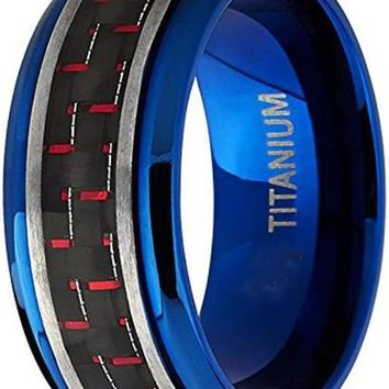 CERTIFIED 9mm Men's Brushed Blue Titanium Black and Red Carbon Fiber Inlay