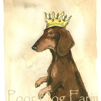 Red Dachshund King (an original hand painted king)