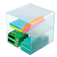 Deflect O Stackable Cube With 2 Shelves 6 H x 6 W x 6 D Clear by Office Depot & OfficeMax