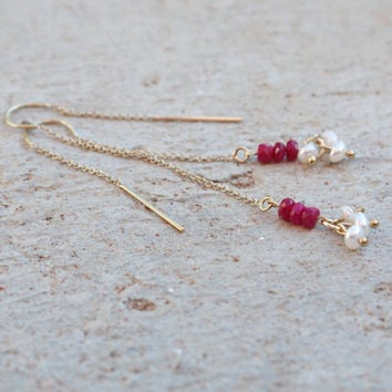 Genuine ruby earrings Red ruby and pearl thread earrings Gold filled Threader earrings Raspberry gemstone dangle earrings Festive party