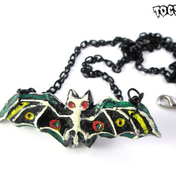 Day of the Dead Bat necklace - sugar skull necklace - dia de los muertos - psychobilly jewelry Skeleton Bat - rockabilly jewelry gothic bat