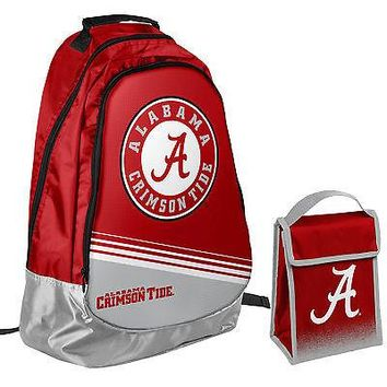 Alabama Crimson Tide NCAA One Size Backpack Core Bag Insulated Lunch Box