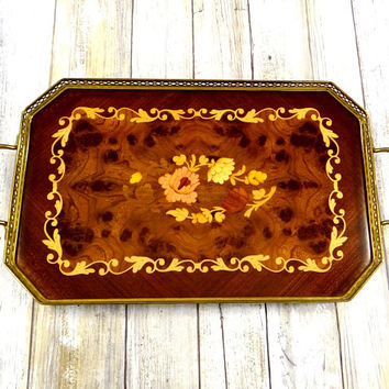 Vintage Italian Inlaid Wood Tray with Metal Frame and Handles