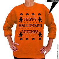 Halloween Shirt - Happy Halloween Witches - Orange Unisex Crew Neck