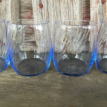 4 Vintage Whiskey Glasses, Light blue old fashioned glasses, scotch glasses, bar cart glasses, vintage glassware, low ball tumblers