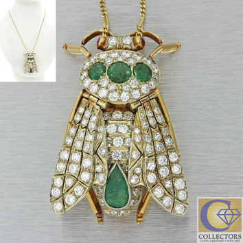 1930s Antique Art Deco 14k Gold 6.73ctw Emerald Diamond Fly Pendant Necklace