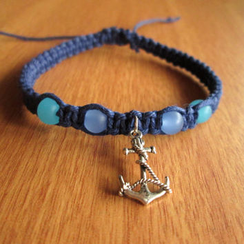 Nautical Bracelet, Anchor Hemp Bracelet, Glass Beaded Anchor Jewelry, Macrame Bracelet, Beach Jewelry, Navy Blue, Organic
