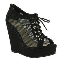 Mark and Maddux Robert-02 Cut-out net lace-up peep-toe wedge bootie in black @ ippolitan.com