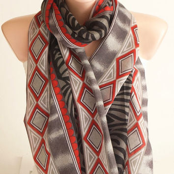 NEW SPRING Grey, red, black color  Cotton Mixcolor Spring Scarf, Geometric Scarf, Tribal Scarf