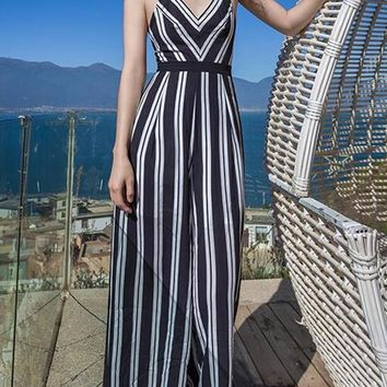 Black And White Striped Cross Back Tie Back Fashion Long Jumpsuit