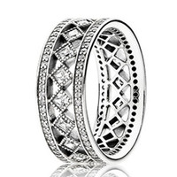 Authentic 925 Sterling Silver Ring Openwork Vintage Fascination Crystal Rings For Women compatible with Pandora jewelry HRC0281