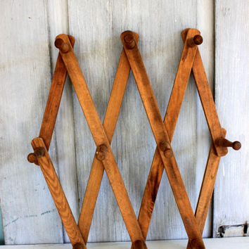vintage accordion wall rack // organization // wooden expandable peg rack // wood wall hanging // collapsible