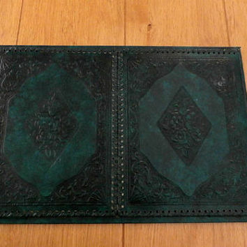 Faux Leather Desk Blotter, Writing Pad, Vintage Elegant Desk Accessories,  Dark Green Tooled Leather,  2 Flap Desk Blotter
