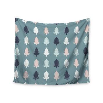 "afe images ""Christmas Tree Silhouettes"" Blue Pink Digital Wall Tapestry"