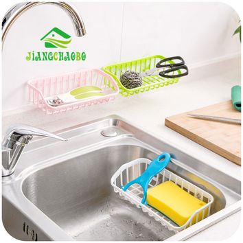 Wall Sucker Plastic Organizer Net Box Kitchen Sink Cooking Bathroom Shelf Storage Rack Hanging Holder