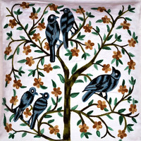 Tree with birds Decorative Pillow/Cushion Cover 16x16 inches/Shams/Slip/Embroidery/Custom made/Floral/Vines/accent/throw/sofa/outdoor/couch
