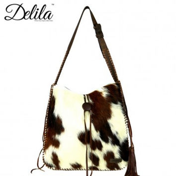 Delila Hair On Hide Tote by Montana West LEA-6020 Coffee