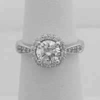 Simple Halo Engagement Ring with 1 Carat Cubic Zirconia