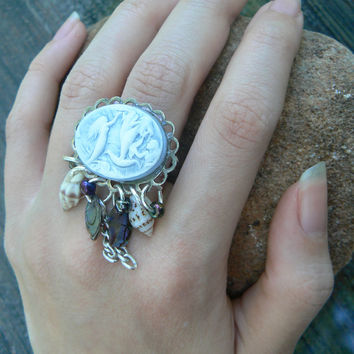 mermaid cameo ring shell ring abalone ring