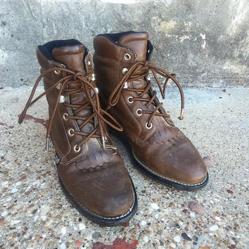 Vintage Brown Leather Lace Up Justin Basics Hiking Boots | Work Boots | Size 6