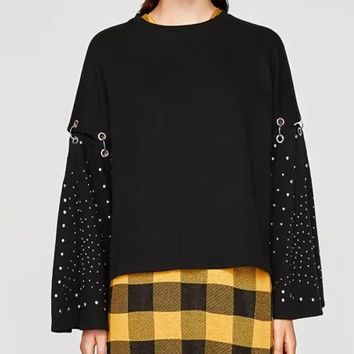 Black Metal Circle Stud Detail Flare Sleeve Blouse
