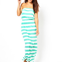 ASOS Wide Stripe Bandeau Jersey Maxi Beach Dress