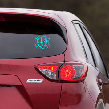 Monogram Car Decal Sticker - Vine Interlocking Font - Monogram Everything - wall macbook window door