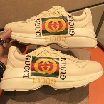 Gucci Spring Trending Women Men Personality Print Lovers Sport Shoe Sneakers I