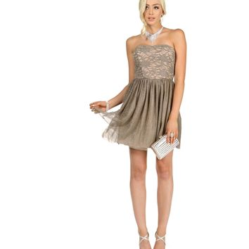 Tasha-taupe Homecoming Dress