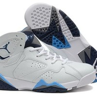 Hot Air Jordan 7 (VII) Retro Women Shoes White Gray Blue